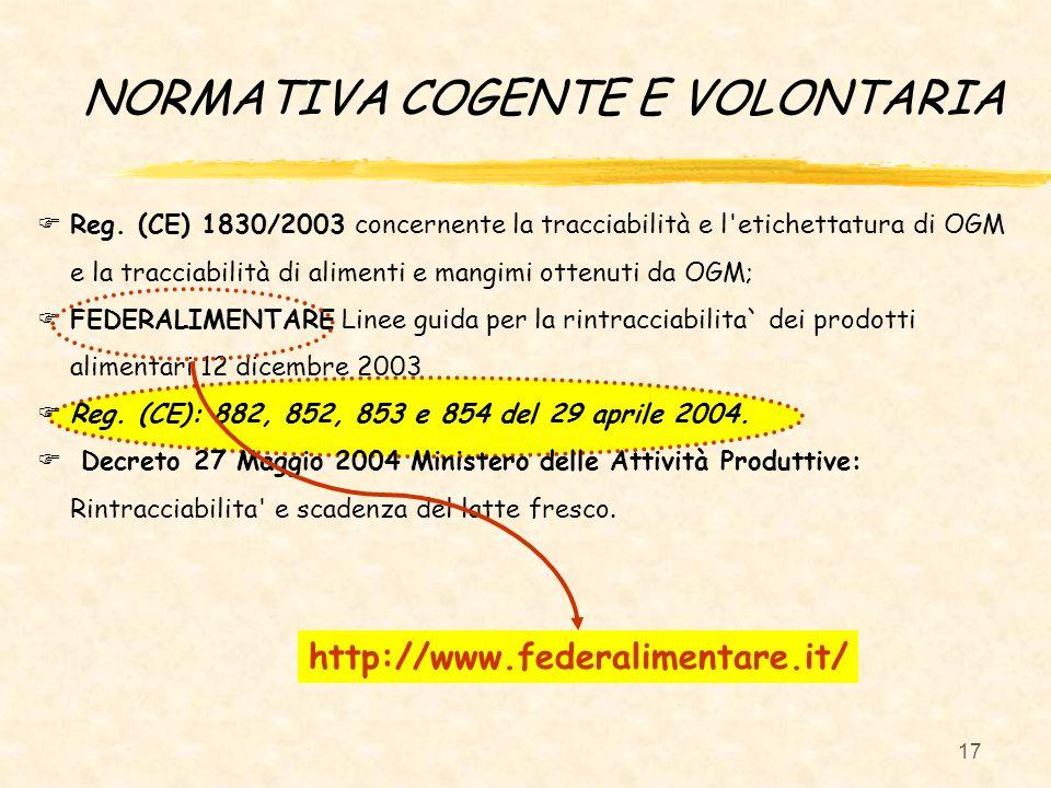 17 Reg. (CE) 1830/2003 concernente la tracciabilità e l'etichettatura di OGM e la tracciabilità di alimenti e mangimi ottenuti da OGM; FEDERALIMENTARE