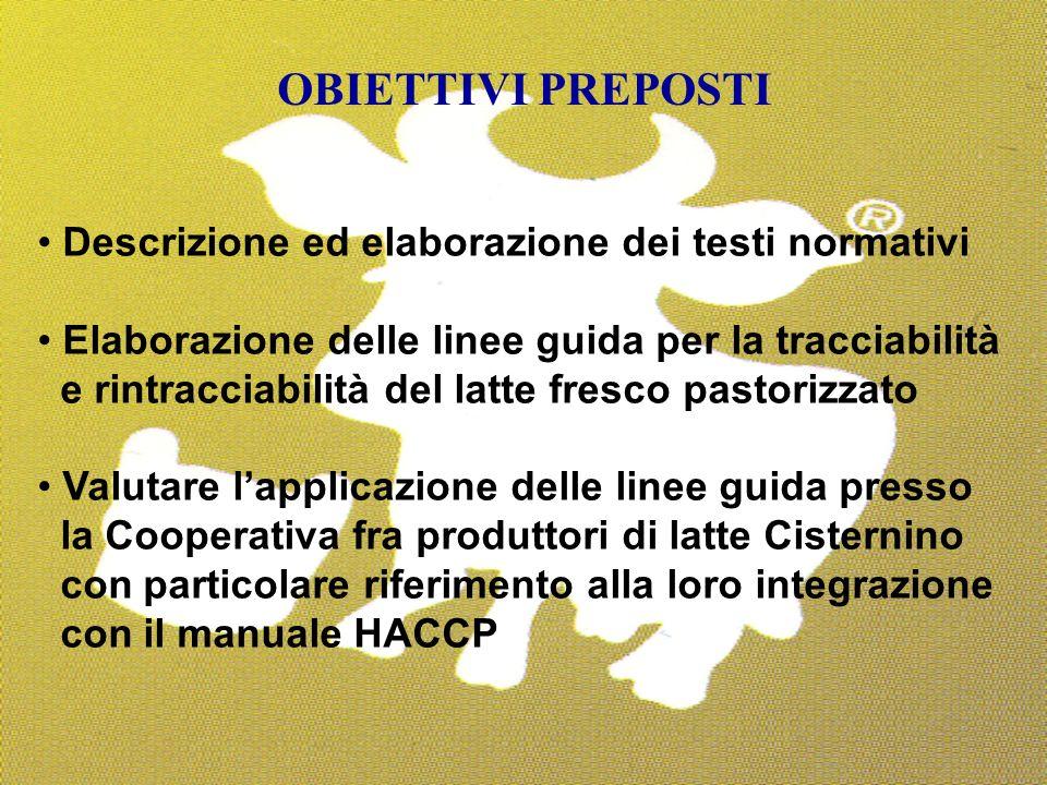 23 Descrizione ed elaborazione dei testi normativi Elaborazione delle linee guida per la tracciabilità e rintracciabilità del latte fresco pastorizzat