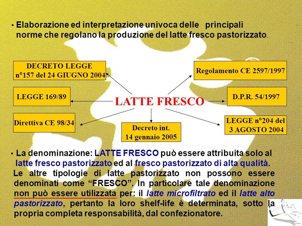 25 Elaborazione ed interpretazione univoca delle principali norme che regolano la produzione del latte fresco pastorizzato. LATTE FRESCO LEGGE 169/89D