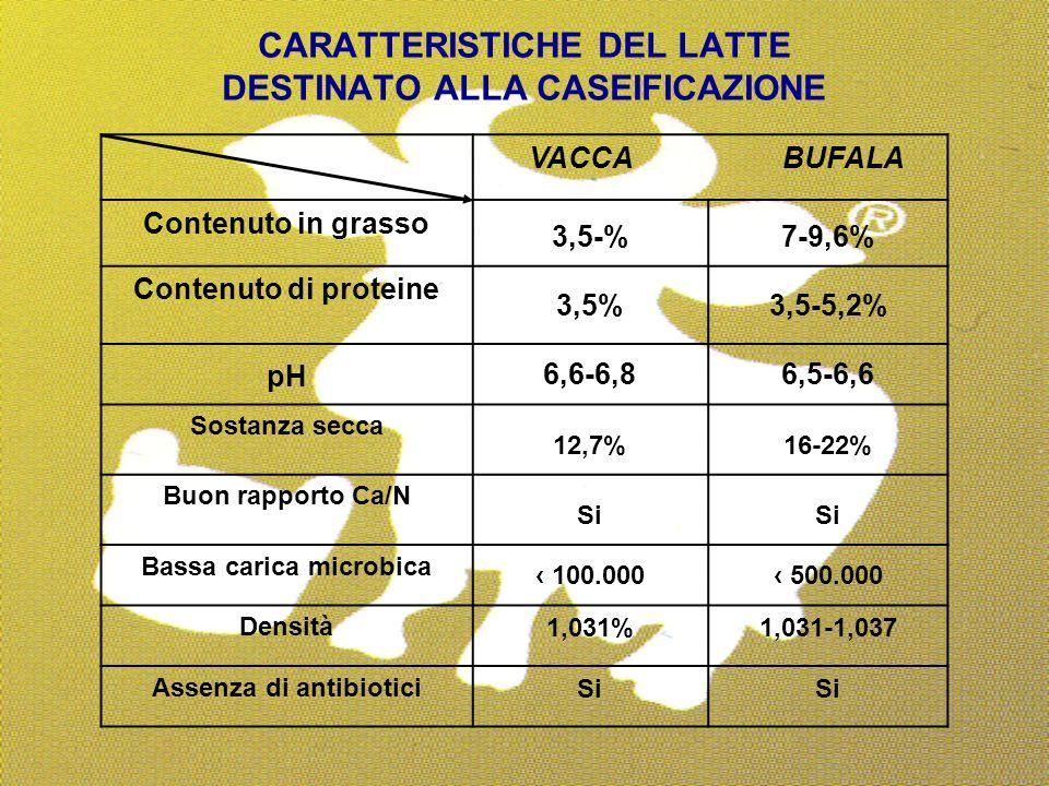 32 CARATTERISTICHE DEL LATTE DESTINATO ALLA CASEIFICAZIONE VACCA BUFALA Contenuto in grasso 3,5-%7-9,6% Contenuto di proteine 3,5%3,5-5,2% pH 6,6-6,86