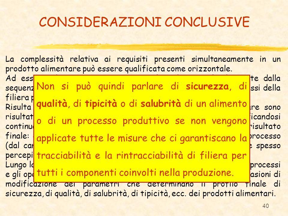 40 CONSIDERAZIONI CONCLUSIVE La complessità relativa ai requisiti presenti simultaneamente in un prodotto alimentare può essere qualificata come orizz