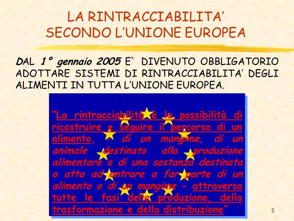 5 DAL 1° gennaio 2005 E` DIVENUTO OBBLIGATORIO ADOTTARE SISTEMI DI RINTRACCIABILITA DEGLI ALIMENTI IN TUTTA LUNIONE EUROPEA. LA RINTRACCIABILITA SECON