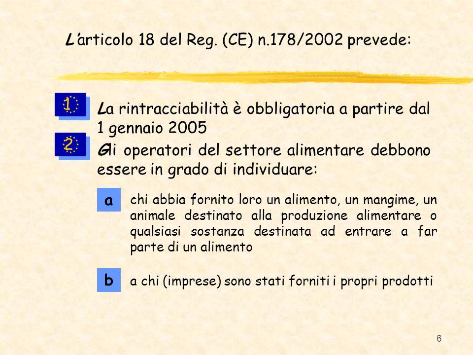 6 Larticolo 18 del Reg. (CE) n.178/2002 prevede: 1 1 2 2 La rintracciabilità è obbligatoria a partire dal 1 gennaio 2005 chi abbia fornito loro un ali