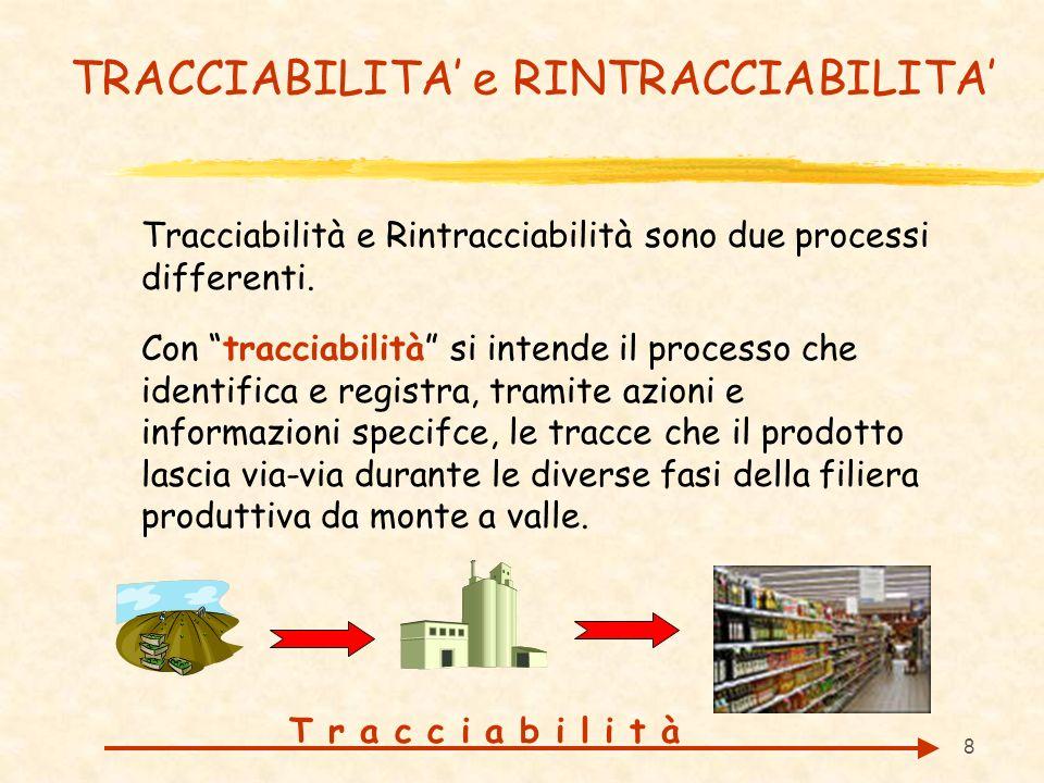 8 TRACCIABILITA e RINTRACCIABILITA Tracciabilità e Rintracciabilità sono due processi differenti. Con tracciabilità si intende il processo che identif