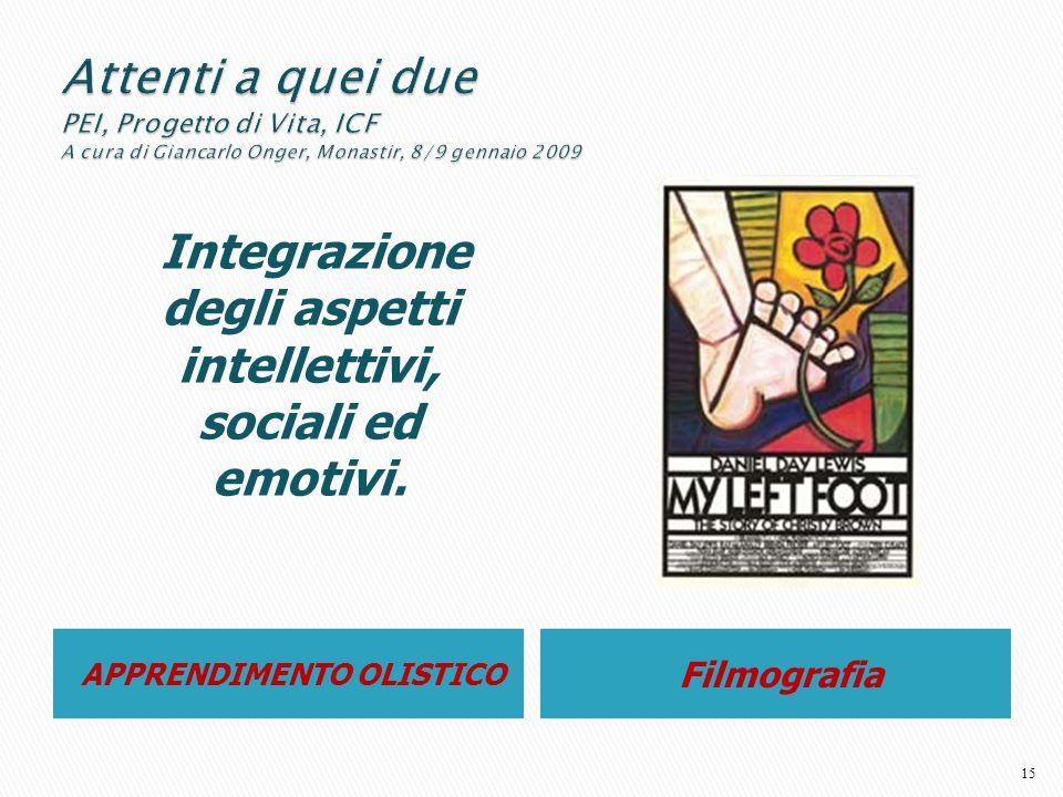 APPRENDIMENTO OLISTICO Filmografia Integrazione degli aspetti intellettivi, sociali ed emotivi. 15