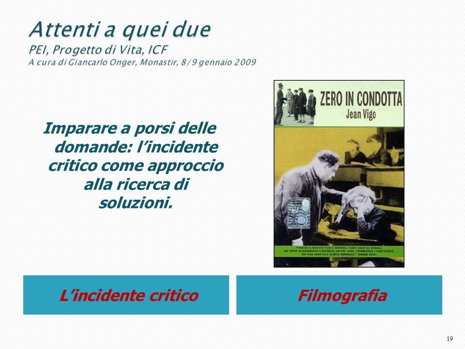 Lincidente criticoFilmografia Imparare a porsi delle domande: lincidente critico come approccio alla ricerca di soluzioni. 19