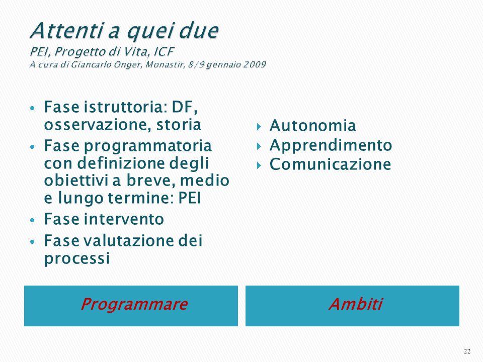 Programmare Ambiti Fase istruttoria: DF, osservazione, storia Fase programmatoria con definizione degli obiettivi a breve, medio e lungo termine: PEI