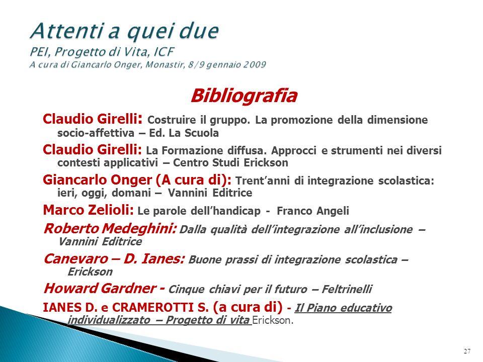 Bibliografia Claudio Girelli : Costruire il gruppo. La promozione della dimensione socio-affettiva – Ed. La Scuola Claudio Girelli: La Formazione diff