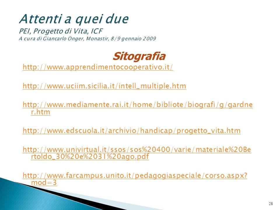 Sitografia http://www.apprendimentocooperativo.it/ http://www.uciim.sicilia.it/intell_multiple.htm http://www.mediamente.rai.it/home/bibliote/biografi
