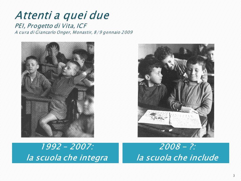 1992 – 2007: la scuola che integra 2008 - ?: la scuola che include 3