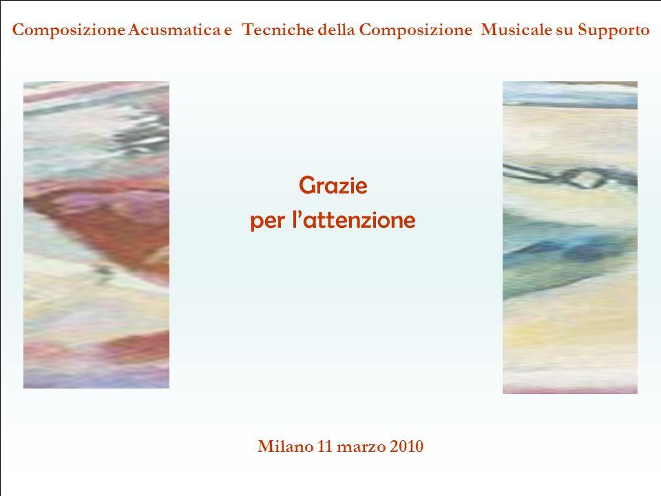 Composizione Acusmatica e Tecniche della Composizione Musicale su Supporto Milano 11 marzo 2010 Grazie per lattenzione