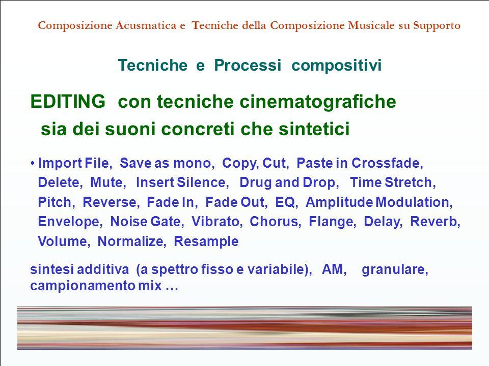 EDITING con tecniche cinematografiche sia dei suoni concreti che sintetici Import File, Save as mono, Copy, Cut, Paste in Crossfade, Delete, Mute, Insert Silence, Drug and Drop, Time Stretch, Pitch, Reverse, Fade In, Fade Out, EQ, Amplitude Modulation, Envelope, Noise Gate, Vibrato, Chorus, Flange, Delay, Reverb, Volume, Normalize, Resample sintesi additiva (a spettro fisso e variabile), AM, granulare, campionamento mix … Composizione Acusmatica e Tecniche della Composizione Musicale su Supporto Tecniche e Processi compositivi