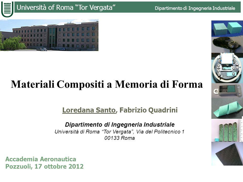 Università of Roma Tor Vergata Dipartimento di Ingegneria Industriale Materiali Compositi a Memoria di Forma Loredana Santo, Fabrizio Quadrini Diparti