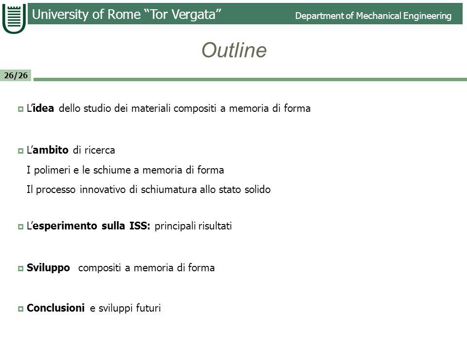 University of Rome Tor Vergata Department of Mechanical Engineering 26/26 Lidea Nasce dallo sviluppo di un nuovo processo per la realizzazione di schiume polimeriche a memoria di forma.