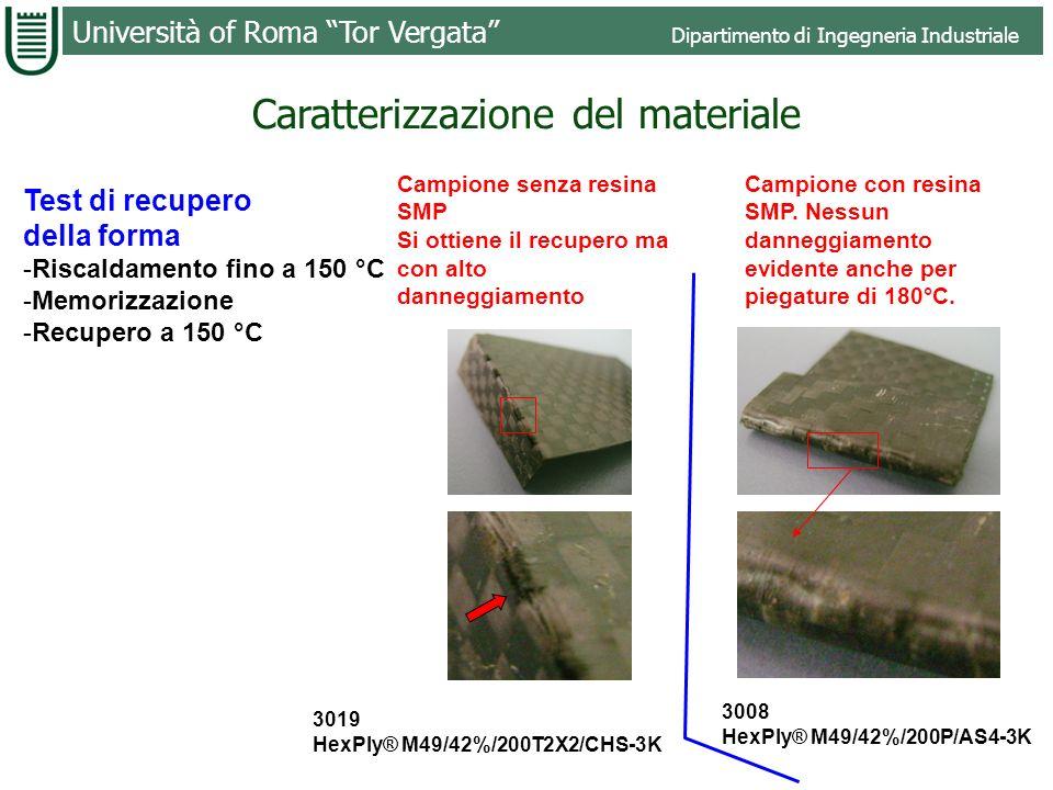 Università of Roma Tor Vergata Dipartimento di Ingegneria Industriale Resina 3008 Resina 3019 Flessione 3008 HexPly® M49/42%/200P/AS4-3K 3019 HexPly®