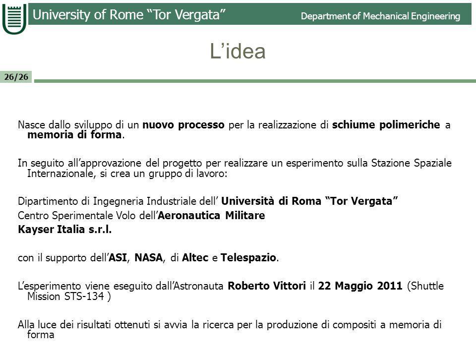 University of Rome Tor Vergata Department of Mechanical Engineering 26/26 Risultati Non si sono evidenziate sostanziali differenze tra le prove di terra e quelle in orbita per la vite e il cubo.
