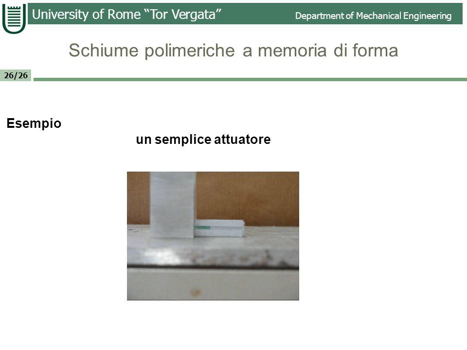 University of Rome Tor Vergata Department of Mechanical Engineering 26/26 Lamina spessore ~2 mm Geometria iniziale Nuova configurazione Recupero della forma Schiume polimeriche a memoria di forma