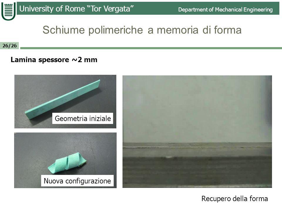 University of Rome Tor Vergata Department of Mechanical Engineering 26/26 Lamina spessore ~2 mm Geometria iniziale Nuova configurazione Recupero della