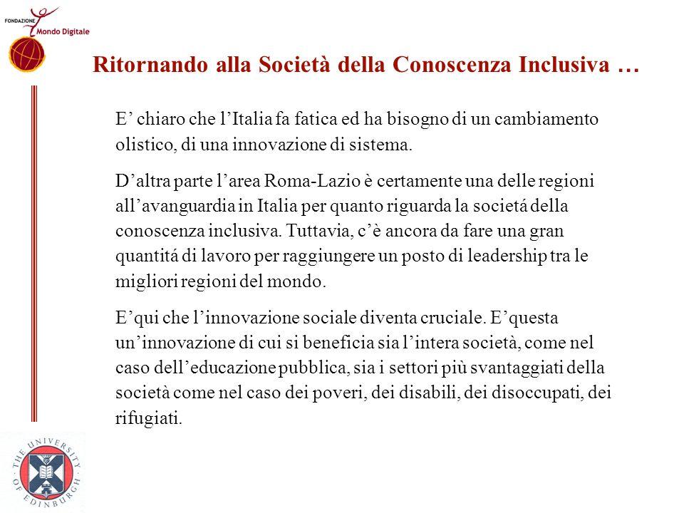 E chiaro che lItalia fa fatica ed ha bisogno di un cambiamento olistico, di una innovazione di sistema. Daltra parte larea Roma-Lazio è certamente una
