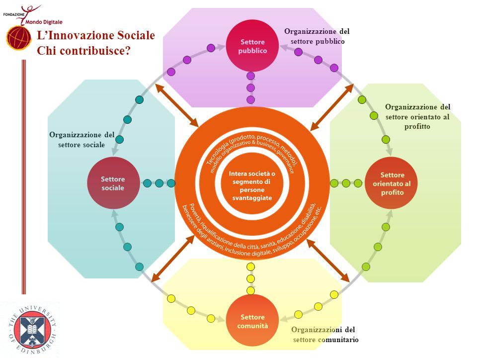 Organizzazione del settore orientato al profitto Organizzazione del settore sociale Organizzazione del settore pubblico Organizzazioni del settore com
