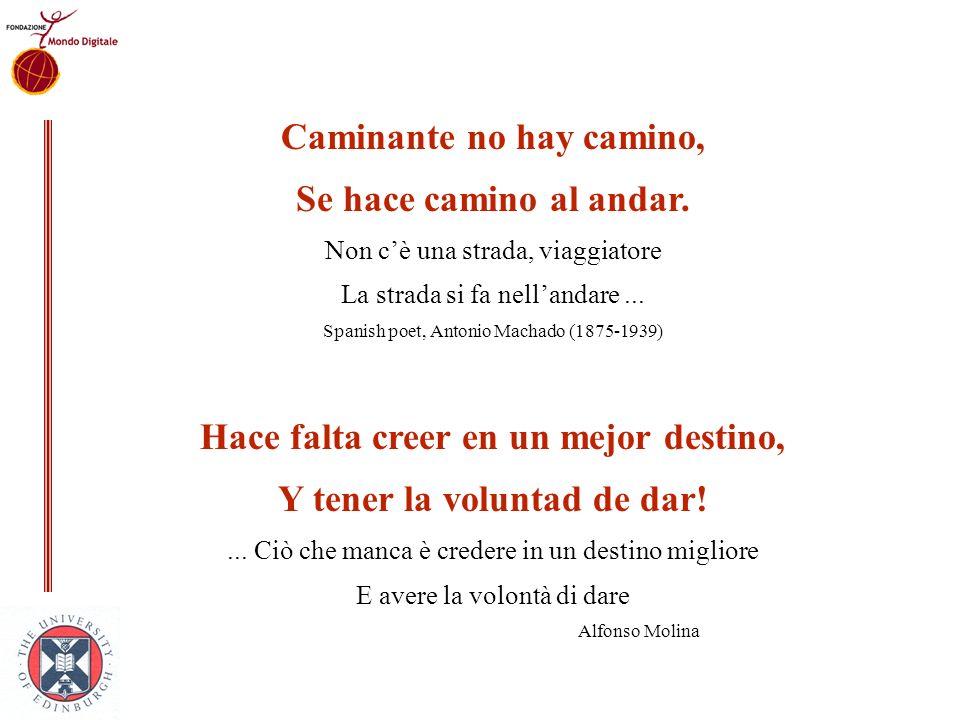 Caminante no hay camino, Se hace camino al andar. Non cè una strada, viaggiatore La strada si fa nellandare... Spanish poet, Antonio Machado (1875-193