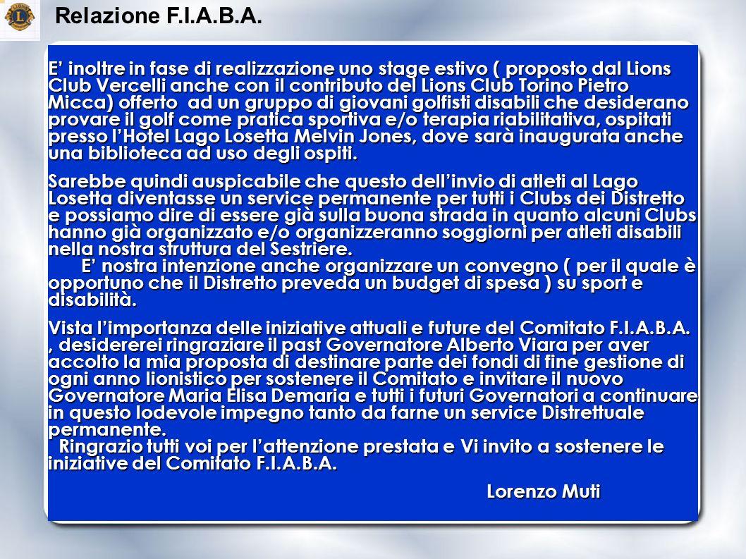 E inoltre in fase di realizzazione uno stage estivo ( proposto dal Lions Club Vercelli anche con il contributo del Lions Club Torino Pietro Micca) off