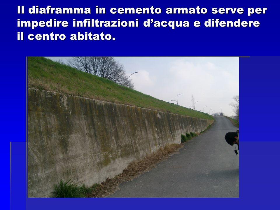 Il diaframma in cemento armato serve per impedire infiltrazioni dacqua e difendere il centro abitato.