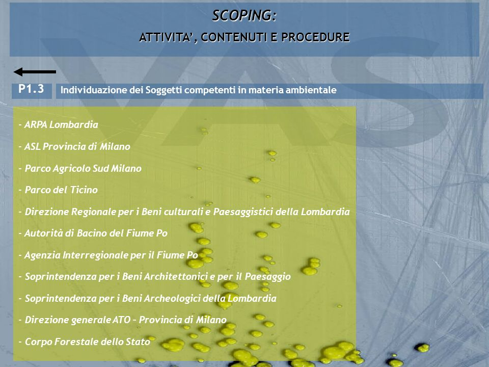 SCOPING: ATTIVITA, CONTENUTI E PROCEDURE Individuazione dei Soggetti competenti in materia ambientale P1.3 - ARPA Lombardia - ASL Provincia di Milano