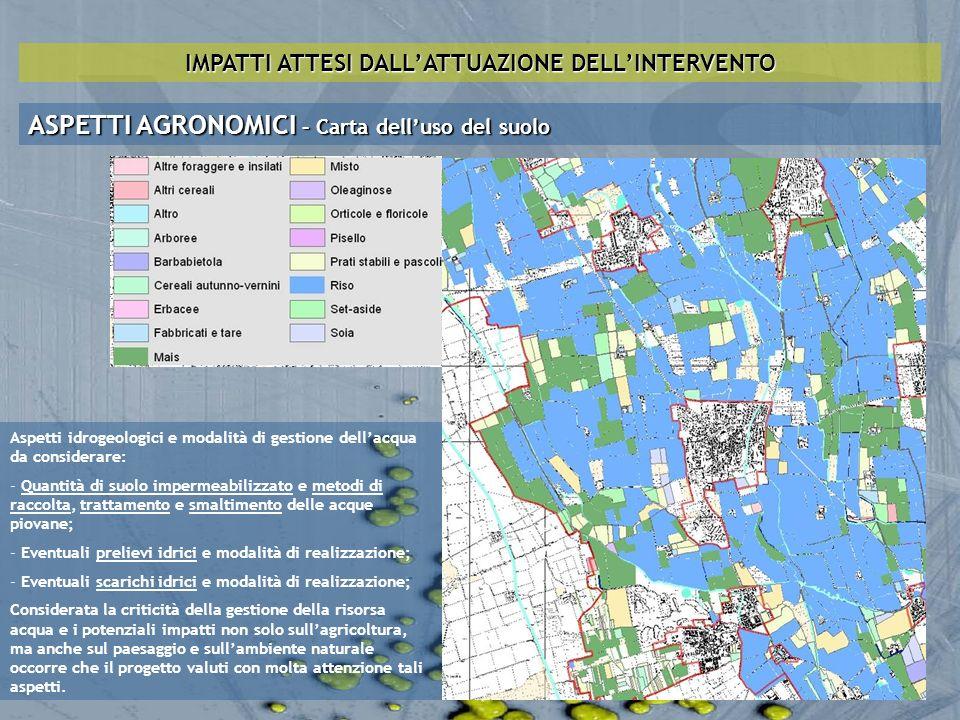 IMPATTI ATTESI DALLATTUAZIONE DELLINTERVENTO ASPETTI AGRONOMICI – Carta delluso del suolo Aspetti idrogeologici e modalità di gestione dellacqua da co