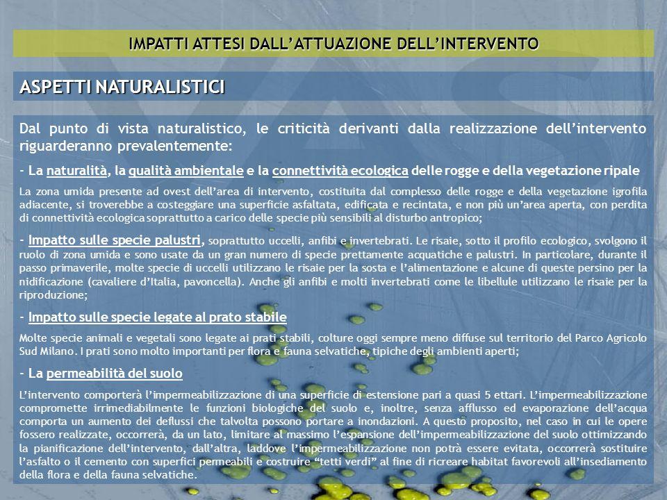 IMPATTI ATTESI DALLATTUAZIONE DELLINTERVENTO ASPETTI NATURALISTICI Dal punto di vista naturalistico, le criticità derivanti dalla realizzazione dellin