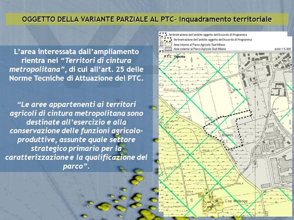 OGGETTO DELLA VARIANTE PARZIALE AL PTC– Inquadramento territoriale Larea interessata dallampliamento rientra nei Territori di cintura metropolitana, d