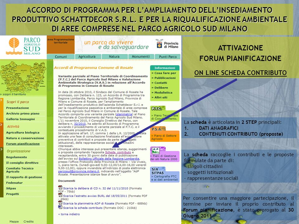 La scheda raccoglie i contributi e le proposte formulate da parte di: - singoli cittadini - soggetti istituzionali - rappresentanze sociali ATTIVAZION