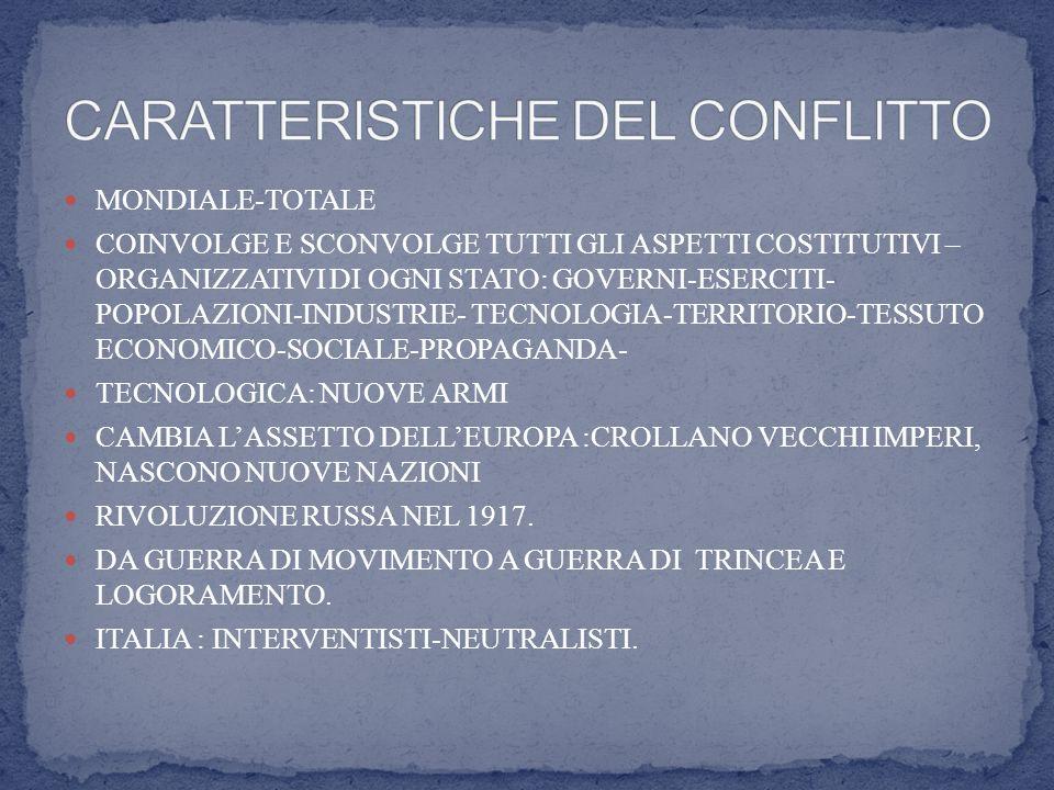 MONDIALE-TOTALE COINVOLGE E SCONVOLGE TUTTI GLI ASPETTI COSTITUTIVI – ORGANIZZATIVI DI OGNI STATO: GOVERNI-ESERCITI- POPOLAZIONI-INDUSTRIE- TECNOLOGIA-TERRITORIO-TESSUTO ECONOMICO-SOCIALE-PROPAGANDA- TECNOLOGICA: NUOVE ARMI CAMBIA LASSETTO DELLEUROPA :CROLLANO VECCHI IMPERI, NASCONO NUOVE NAZIONI RIVOLUZIONE RUSSA NEL 1917.