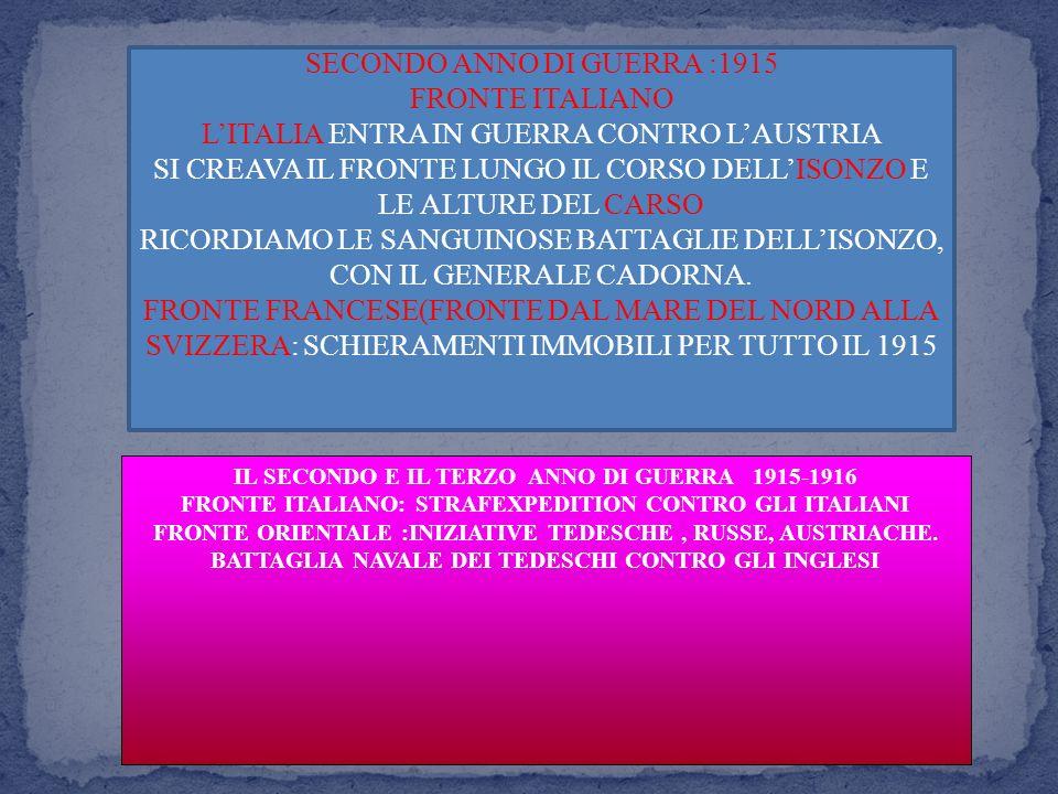 IL SECONDO E IL TERZO ANNO DI GUERRA 1915-1916 FRONTE ITALIANO: STRAFEXPEDITION CONTRO GLI ITALIANI FRONTE ORIENTALE :INIZIATIVE TEDESCHE, RUSSE, AUSTRIACHE.