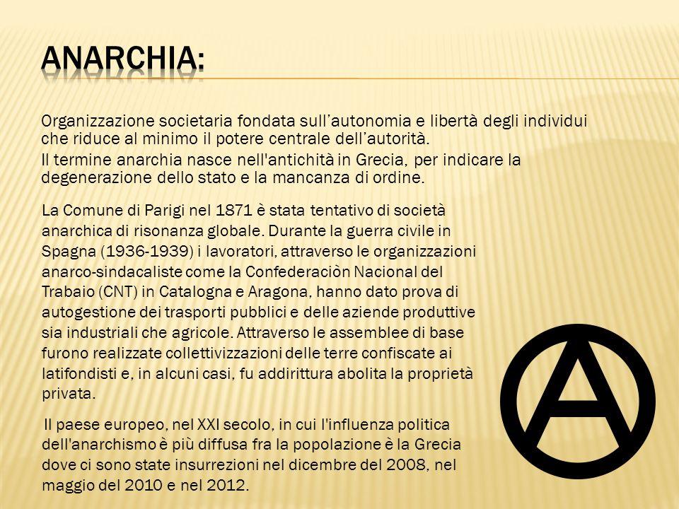 Organizzazione societaria fondata sullautonomia e libertà degli individui che riduce al minimo il potere centrale dellautorità. Il termine anarchia na