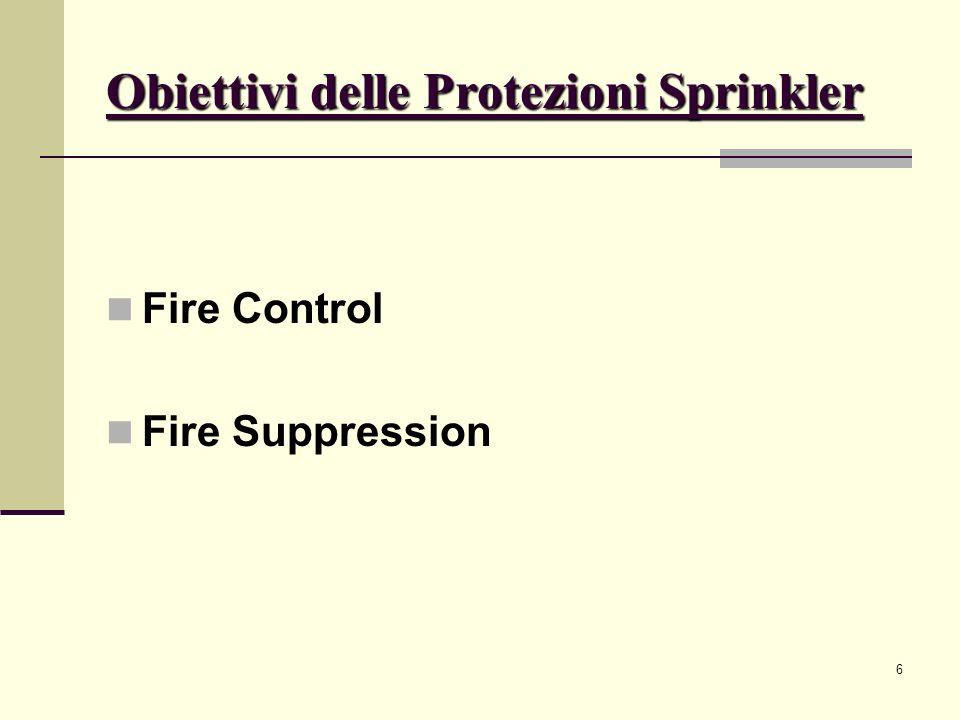 7 Obiettivi delle Protezioni Sprinkler Fire Control: limitazione delle dimensioni dellincendio diminuendo il rilascio termico pre-wetting evitare danni strutturali Tipo di sprinklers: old type sprinklers (fino al 1953 NFPA) standard sprinklers control made special application (CMSA)