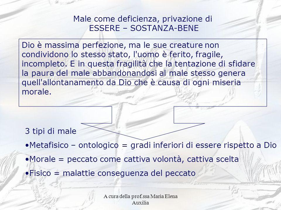 A cura della prof.ssa Maria Elena Auxilia Male come deficienza, privazione di ESSERE – SOSTANZA-BENE Dio è massima perfezione, ma le sue creature non
