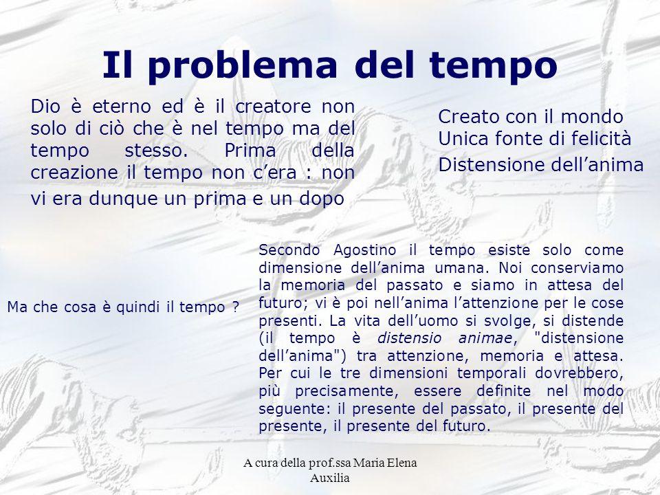 A cura della prof.ssa Maria Elena Auxilia Il problema del tempo Dio è eterno ed è il creatore non solo di ciò che è nel tempo ma del tempo stesso. Pri