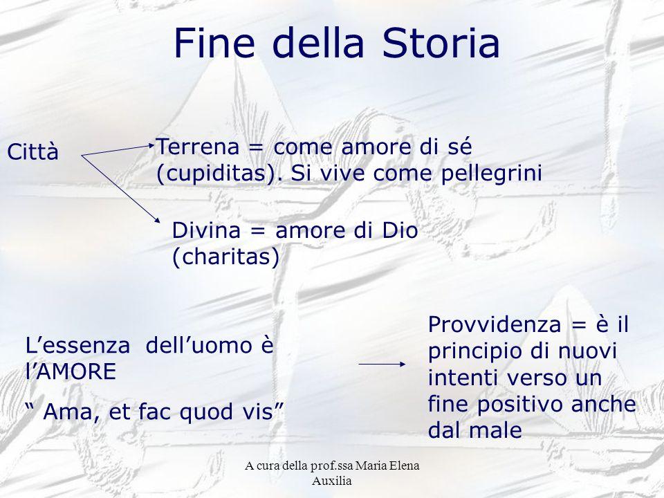 A cura della prof.ssa Maria Elena Auxilia Fine della Storia Città Terrena = come amore di sé (cupiditas). Si vive come pellegrini Divina = amore di Di