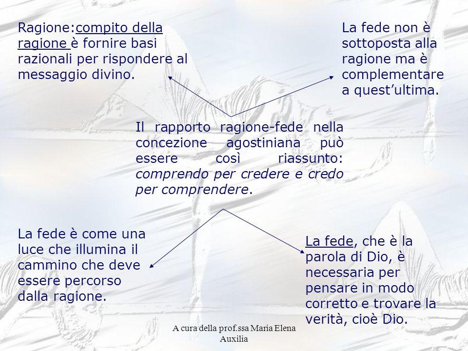 A cura della prof.ssa Maria Elena Auxilia Ragione:compito della ragione è fornire basi razionali per rispondere al messaggio divino. La fede non è sot