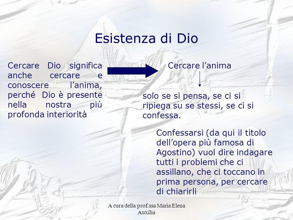 A cura della prof.ssa Maria Elena Auxilia Esistenza di Dio Cercare Dio significa anche cercare e conoscere lanima, perché Dio è presente nella nostra