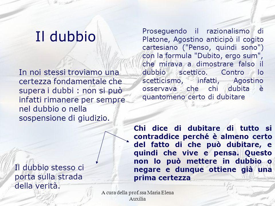 A cura della prof.ssa Maria Elena Auxilia Il dubbio In noi stessi troviamo una certezza fondamentale che supera i dubbi : non si può infatti rimanere