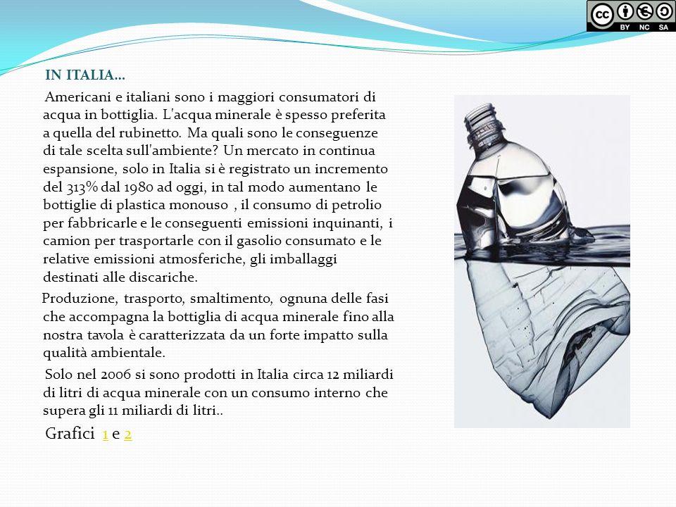 IN ITALIA… Americani e italiani sono i maggiori consumatori di acqua in bottiglia. L'acqua minerale è spesso preferita a quella del rubinetto. Ma qual