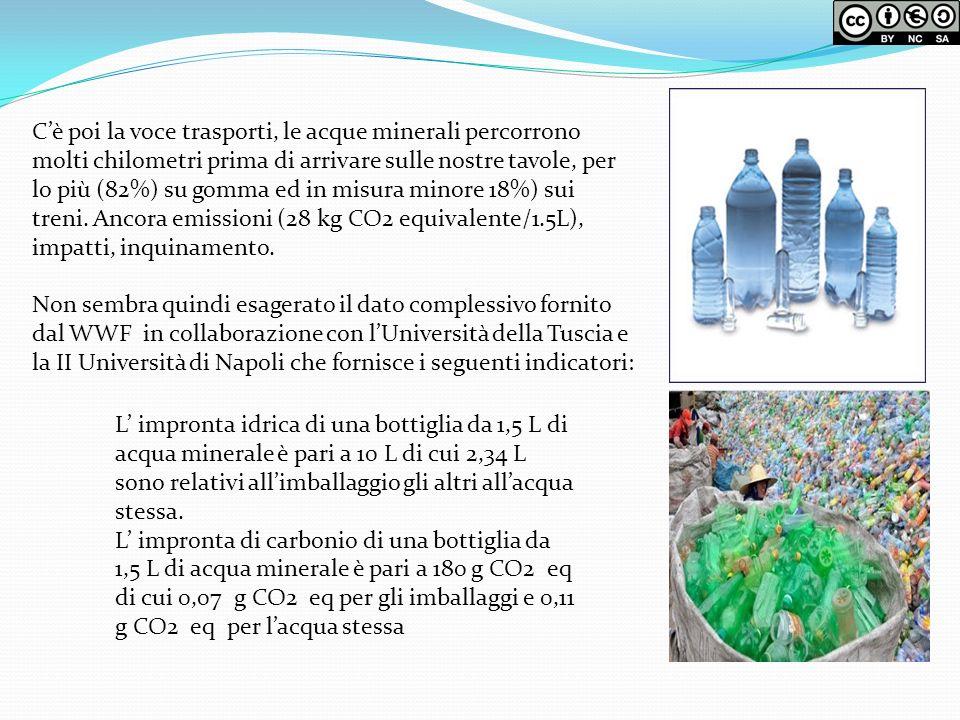 Cè poi la voce trasporti, le acque minerali percorrono molti chilometri prima di arrivare sulle nostre tavole, per lo più (82%) su gomma ed in misura