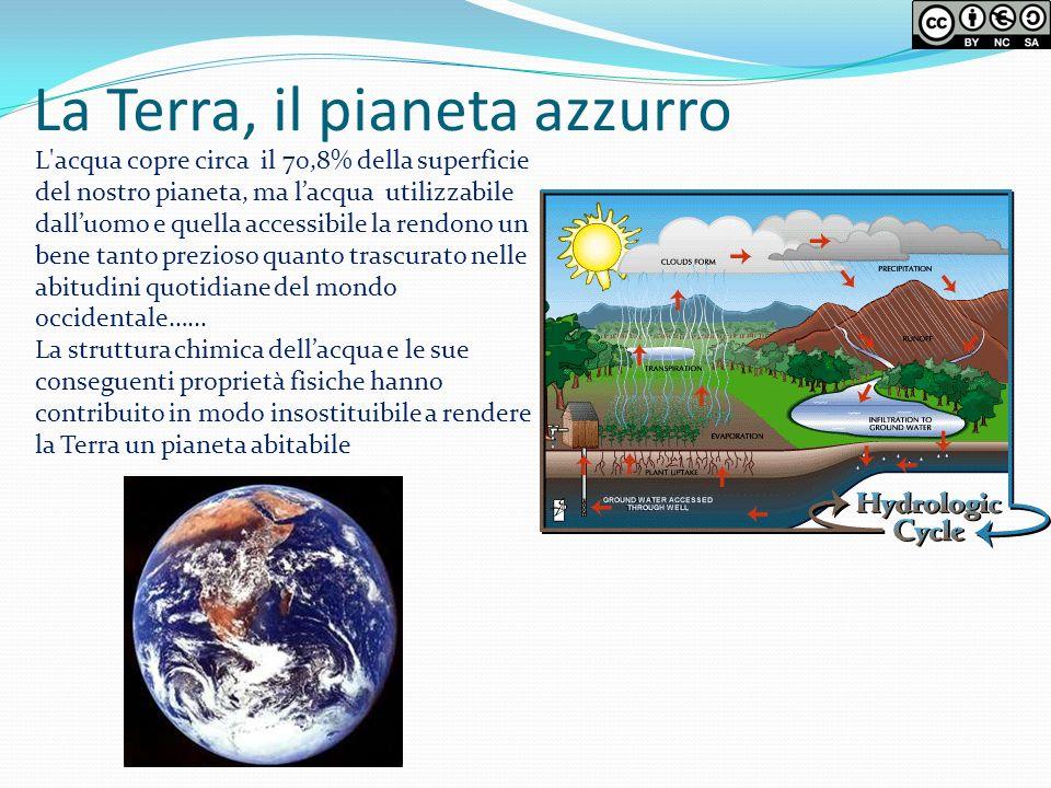 La Terra, il pianeta azzurro L'acqua copre circa il 70,8% della superficie del nostro pianeta, ma lacqua utilizzabile dalluomo e quella accessibile la