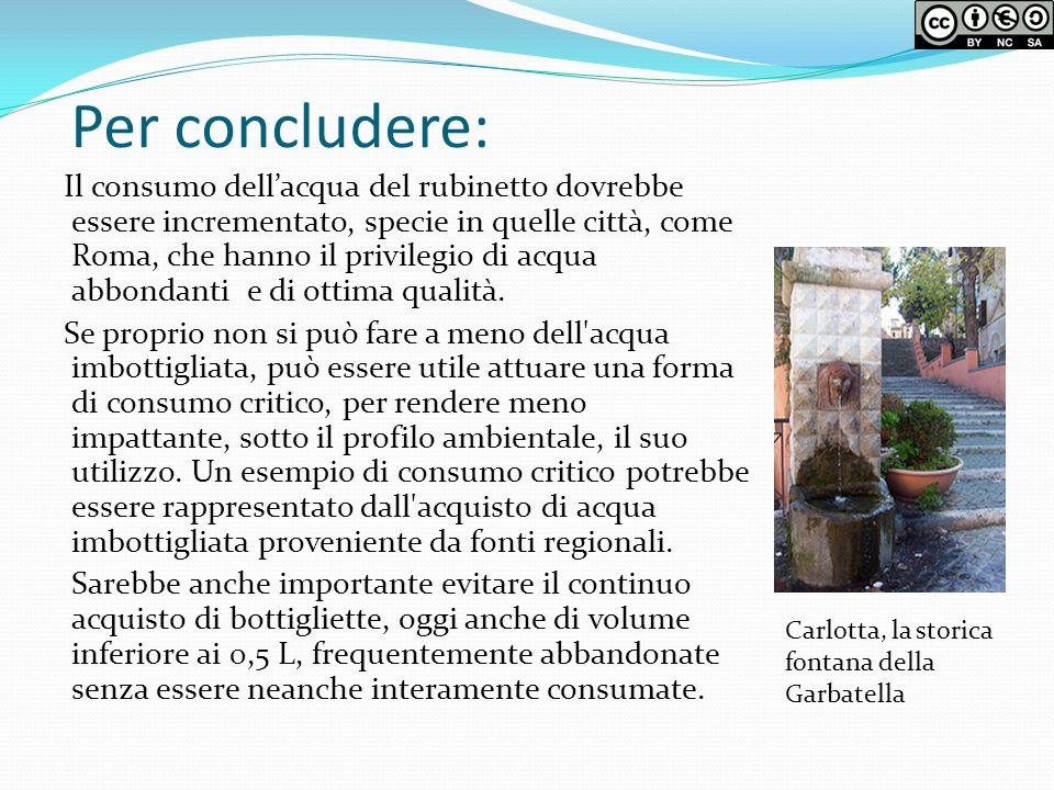 Per concludere: Il consumo dellacqua del rubinetto dovrebbe essere incrementato, specie in quelle città, come Roma, che hanno il privilegio di acqua a
