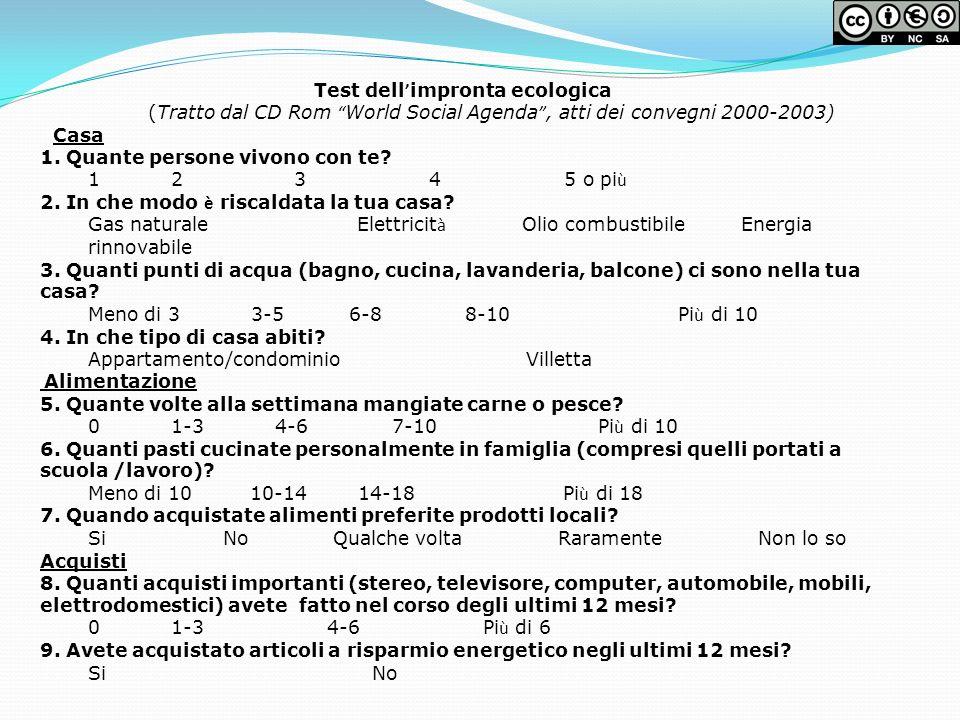 Test dell impronta ecologica (Tratto dal CD Rom World Social Agenda, atti dei convegni 2000-2003) Casa 1. Quante persone vivono con te? 1 2 3 4 5 o pi