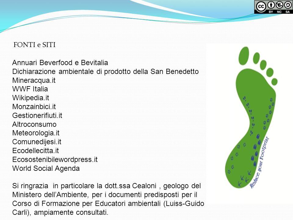 FONTI e SITI Annuari Beverfood e Bevitalia Dichiarazione ambientale di prodotto della San Benedetto Mineracqua.it WWF Italia Wikipedia.it Monzainbici.