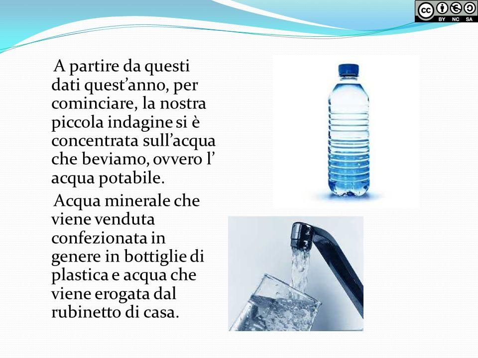 A partire da questi dati questanno, per cominciare, la nostra piccola indagine si è concentrata sullacqua che beviamo, ovvero l acqua potabile. Acqua