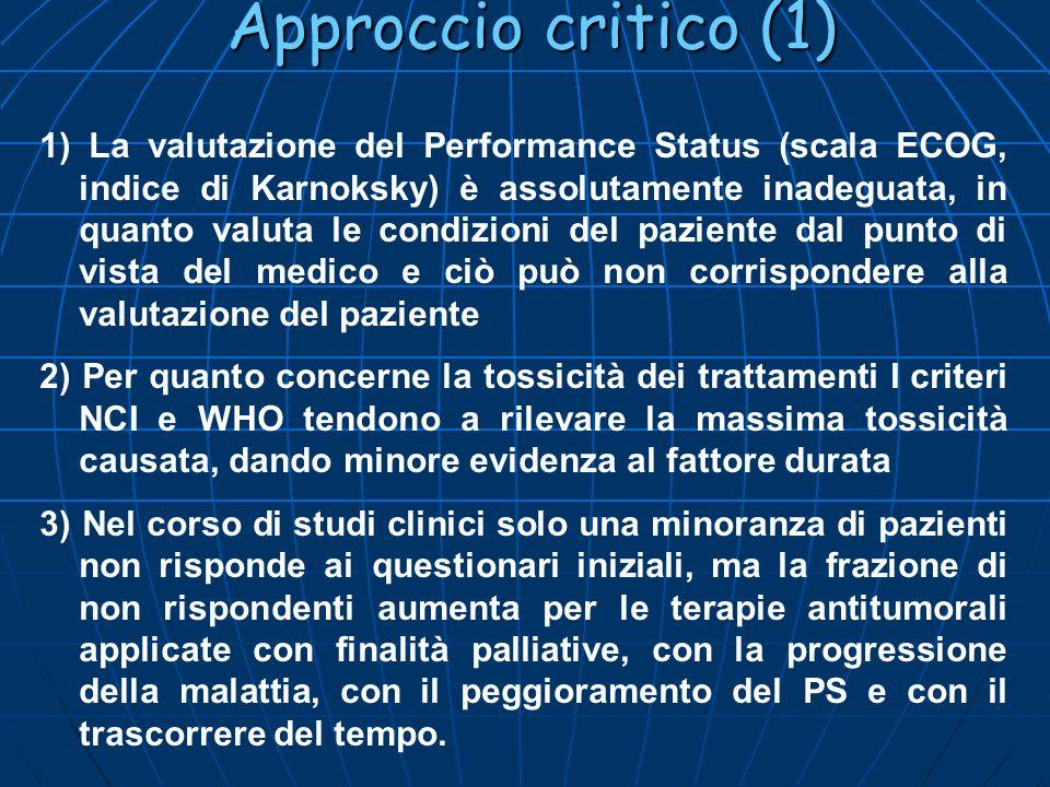 Approccio critico (1) 1) La valutazione del Performance Status (scala ECOG, indice di Karnoksky) è assolutamente inadeguata, in quanto valuta le condi